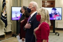 US president Joe Biden, first lady Dr Jill Biden, Vice President Kamala Harris and Second Gentleman Doug Emhoff watch the virtual presidential inaugural prayer service