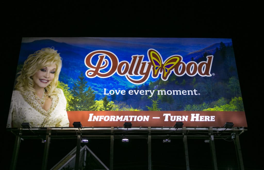 A billboard promoting Dolly Parton's Dollywood