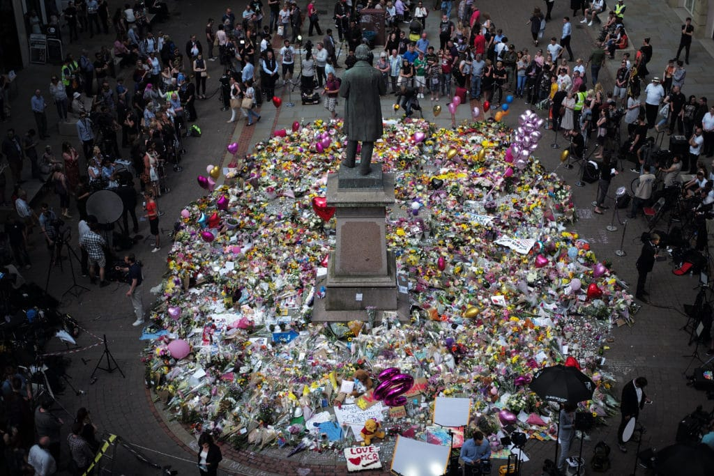 The carpet of floral tributes to the victims and injured of the Manchester Arena bombing