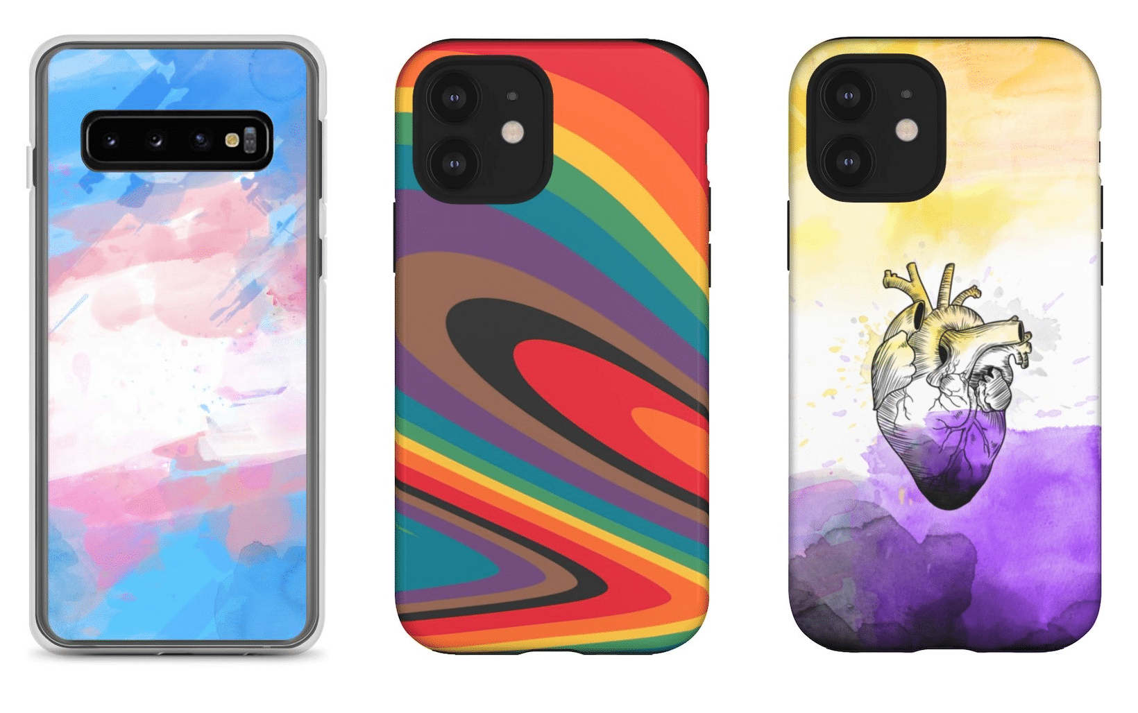 The phone case collection features designs with all the different pride flags. (PinkNews)