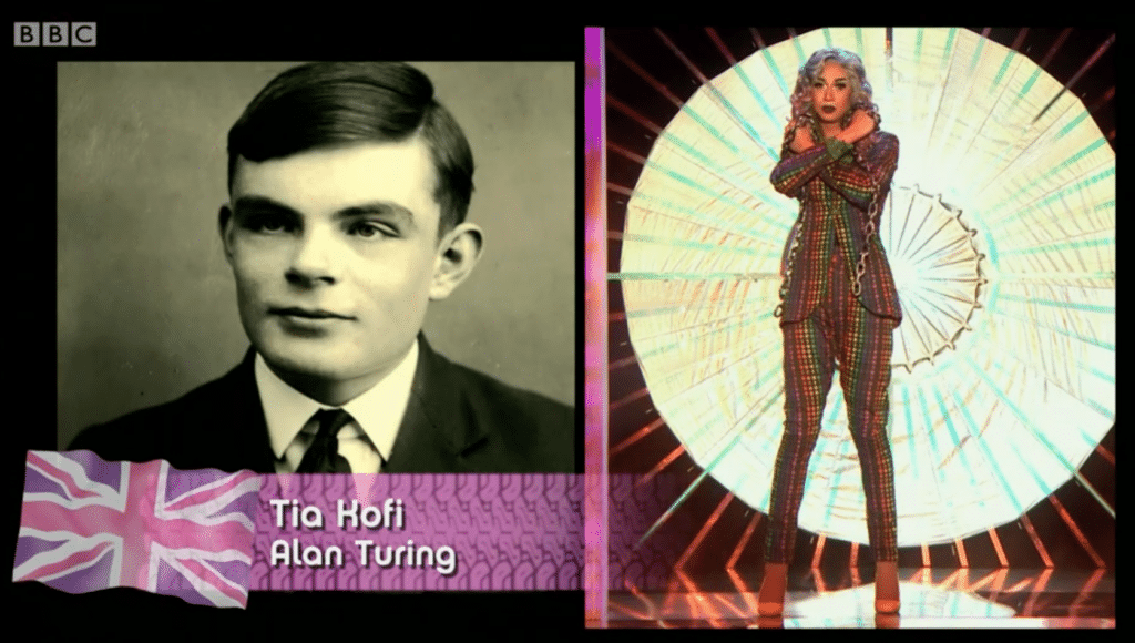 Tia Kofi as WWII code breaker Alan Turing, Drag Race UK