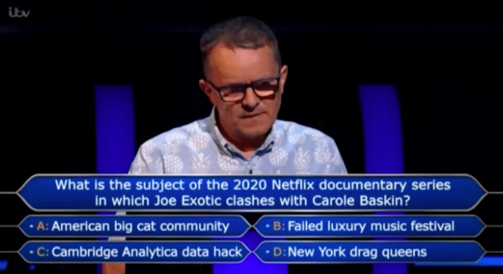 A Who Wants to Be a Millionaire? answers a question on Tiger King