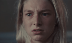 Extreme close up of a worried Jules (Hunter Schafer)