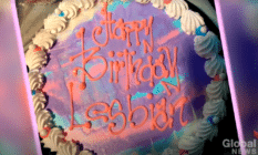 "Dairy Queen cake with icing that reads ""happy birthday lesbian"""