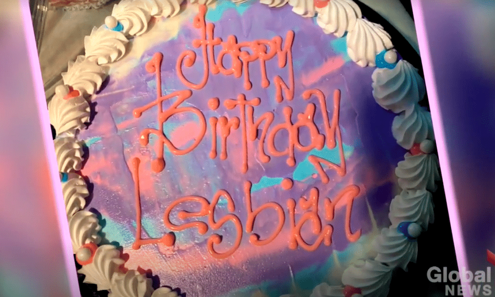 """Dairy Queen cake with icing that reads """"happy birthday lesbian"""""""