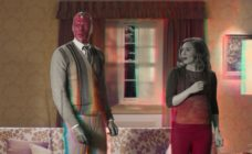 Wanda and Vision in their living room, the scene transforming from black and white to colour