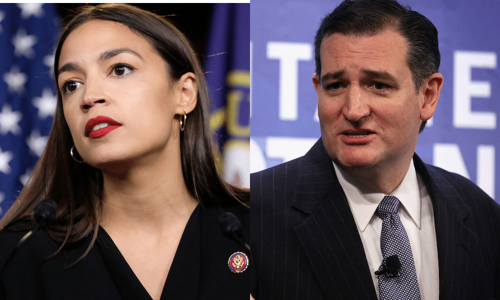 New York representative Alexandria Ocasio-Cortez and Texas senator Ted Cruz