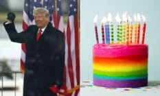 Donald Trump and rainbow cake