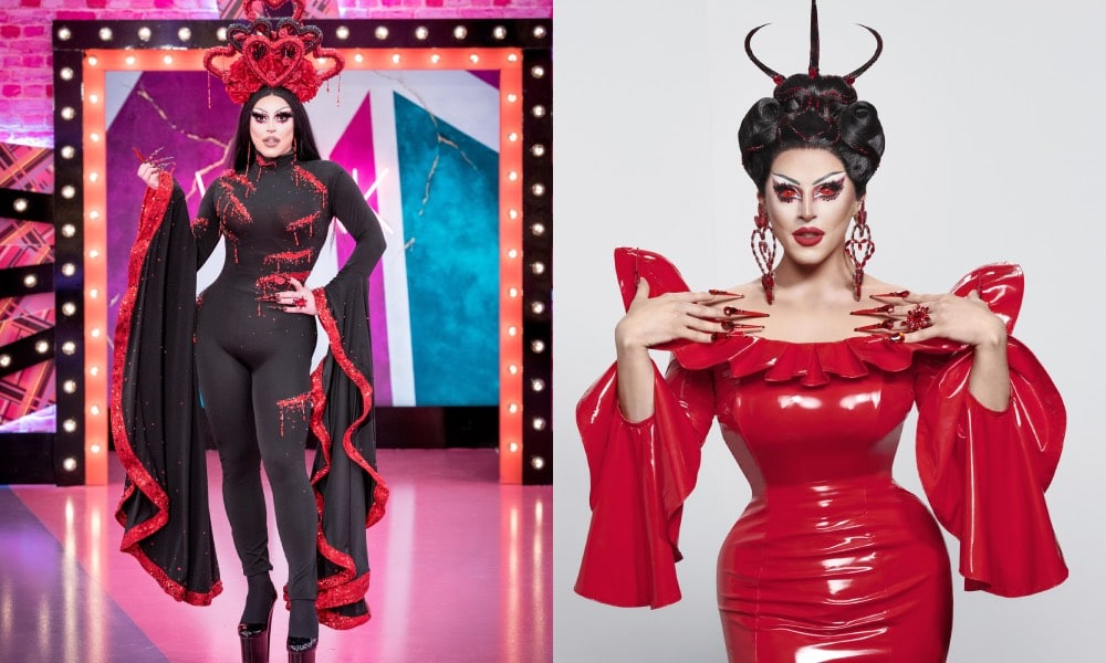 Cherry Valentine in the Werk Room in a black bodysuit with flared sleeves trimmed in red and a headpiece made up of red hears / Cherry in a red latex dress with devilish horns
