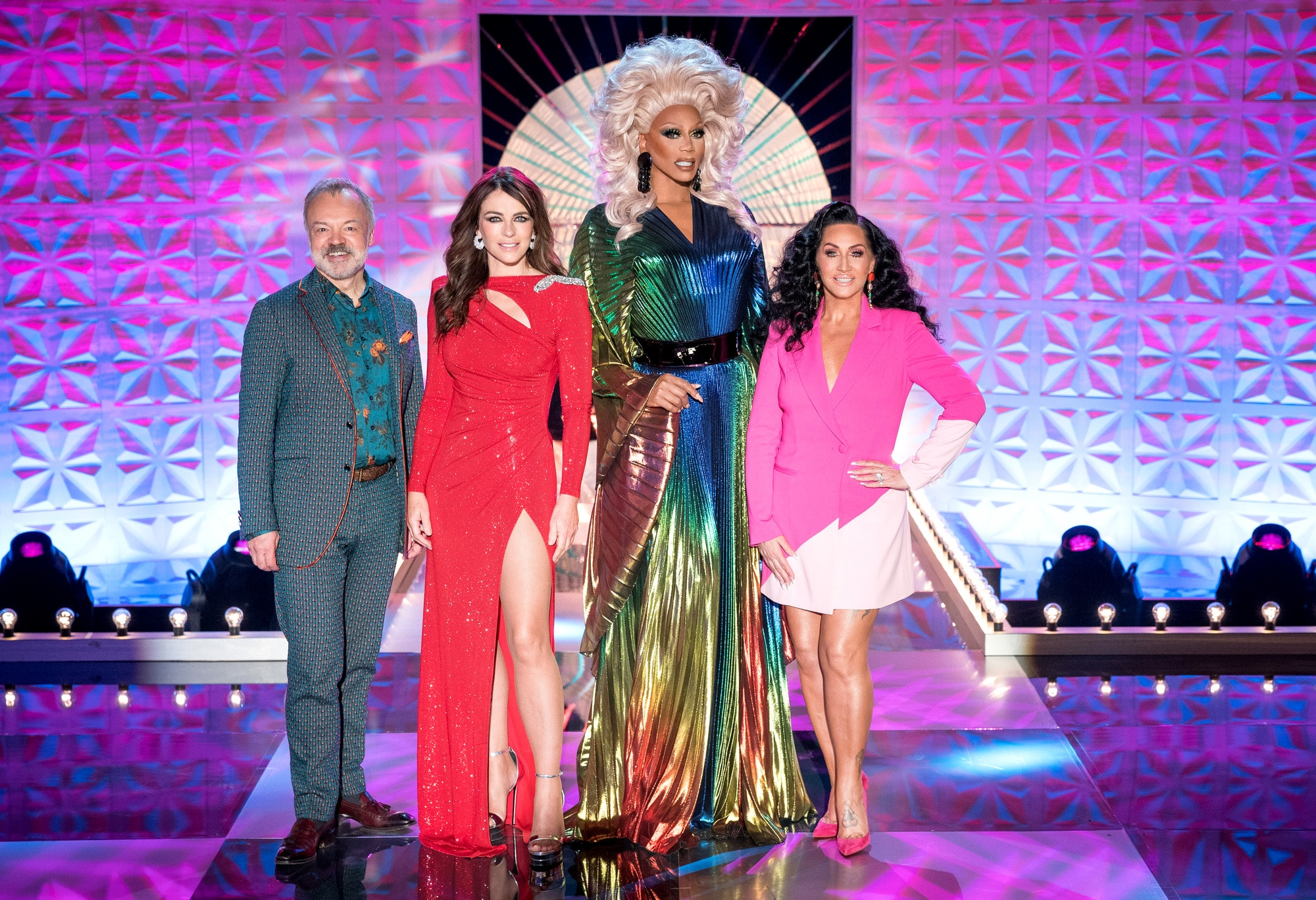 Graham Norton, Elizabeth Hurley, RuPaul and Michelle Visage on the main stage of Drag Race UK