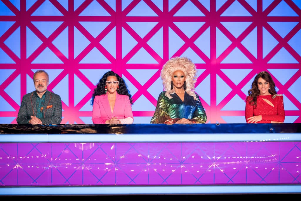Drag Race UK's big purple judging panel, with Graham, Michelle , RuPaul and Elizabeth Hurley