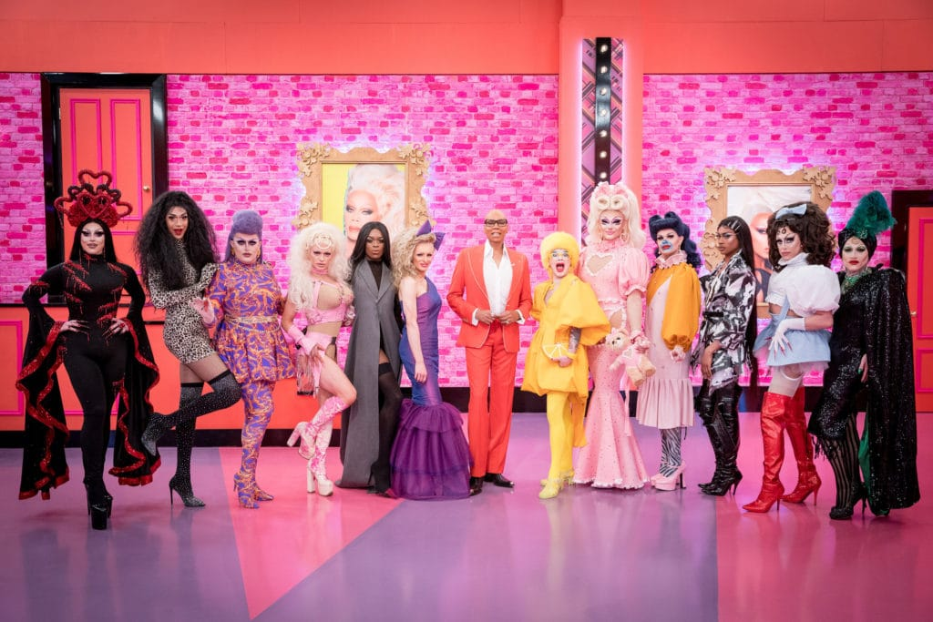 The new cast of Drag Race UK with RuPaul in the werk room