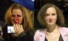 Therese Duke covered in blood. Helena Duke looks to the camera in a black top and pastel pink blazer