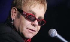 Elton John in bedazzled sunglasses