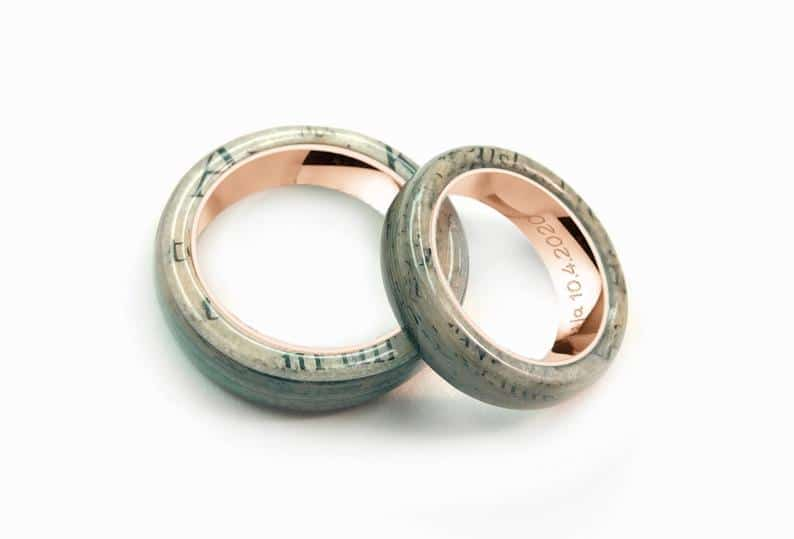 A personalised wedding ring that can feature any paper you want. (Etsy/eternalpaper)