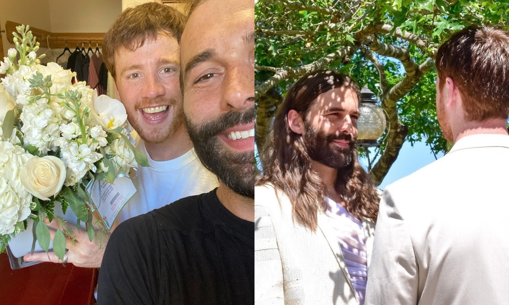 Jonathan Van Ness and Mark Peacock take a selfie in front of a bouquet of flowers (L) and wear white suits while looking into one another's eyes