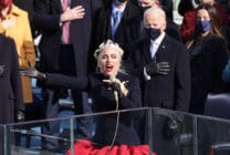 Lady Gaga singing in front of Joe Biden