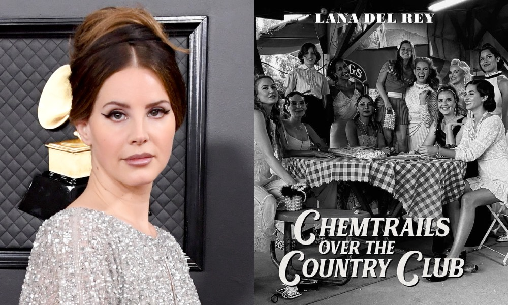 Lana Del Rey and her new Chemtrails album cover showing her at a gingham-covered table with friends