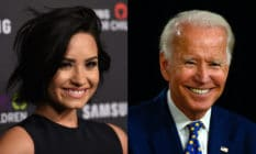 (L) Demi Lovato smiles in a black dress. (R) Joe Biden smiles in a blue polka-dot tie, white shirt and blue blazer