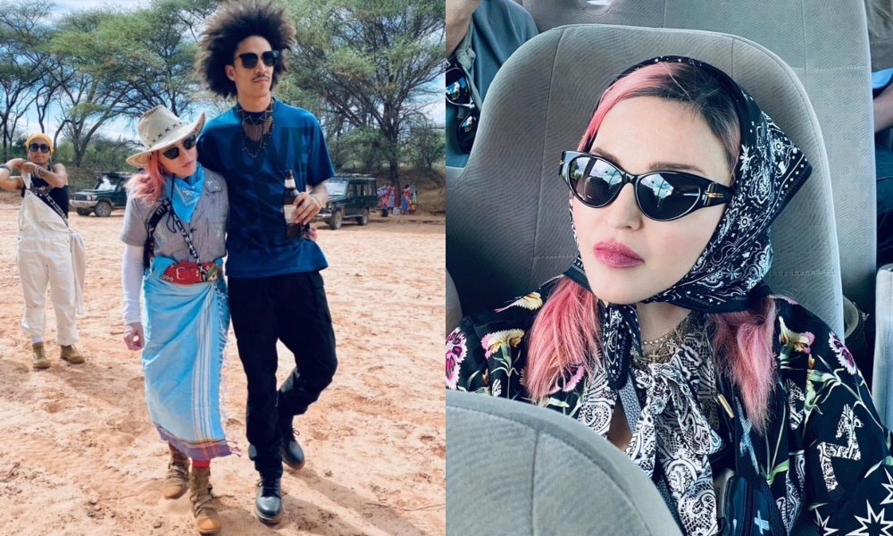 (L) Madonna walks with Ahlamalik Williams, his arm over her shoulder. (R) Madonna wearing sunglasses and a black bandanna sat in a bus