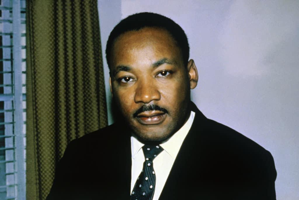 Close-up of the Reverend Dr. Martin Luther King, Jr. shown in this photo headshoulders, alone