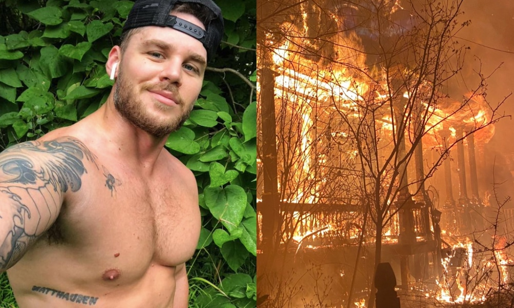(L) Matthew Camp, shirtless and wearing a backwards black baseball cap, smiles to the camera. (R) A two-storey home engulfed in flames