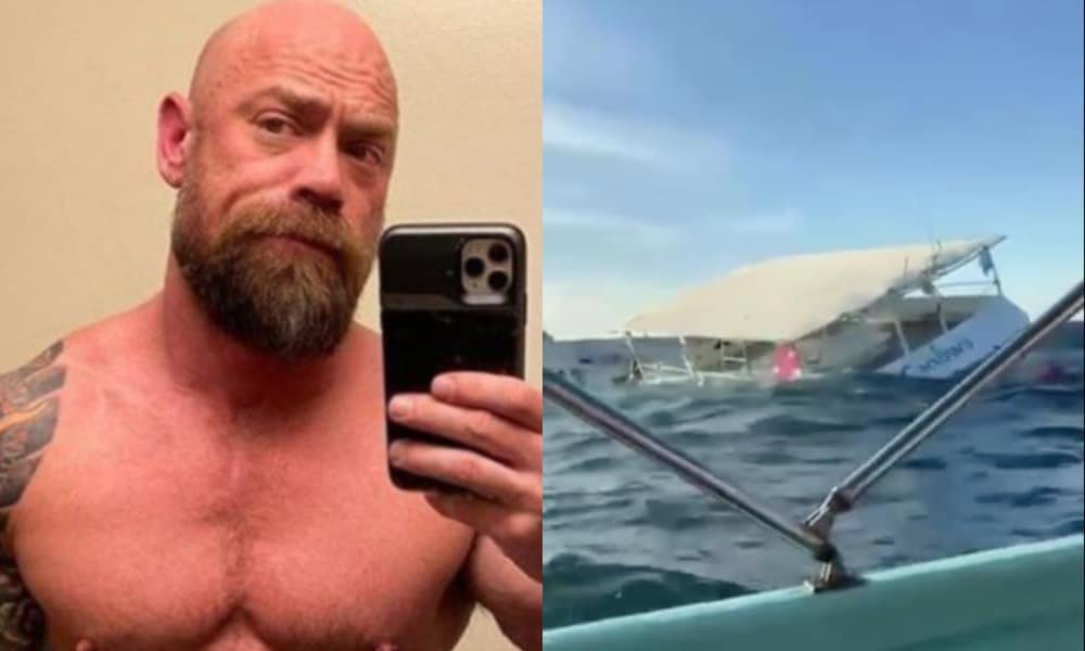 Mike Schultz taking a selfie in a mirror, a party boat capsizing