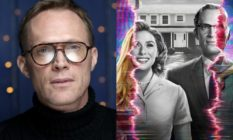 Paul Bettany wearing glasses and a black roll-neck / a WandaVision promo pic of Wanda and Vision in black and white, with the image distorting to reveal their usual superhero appearances