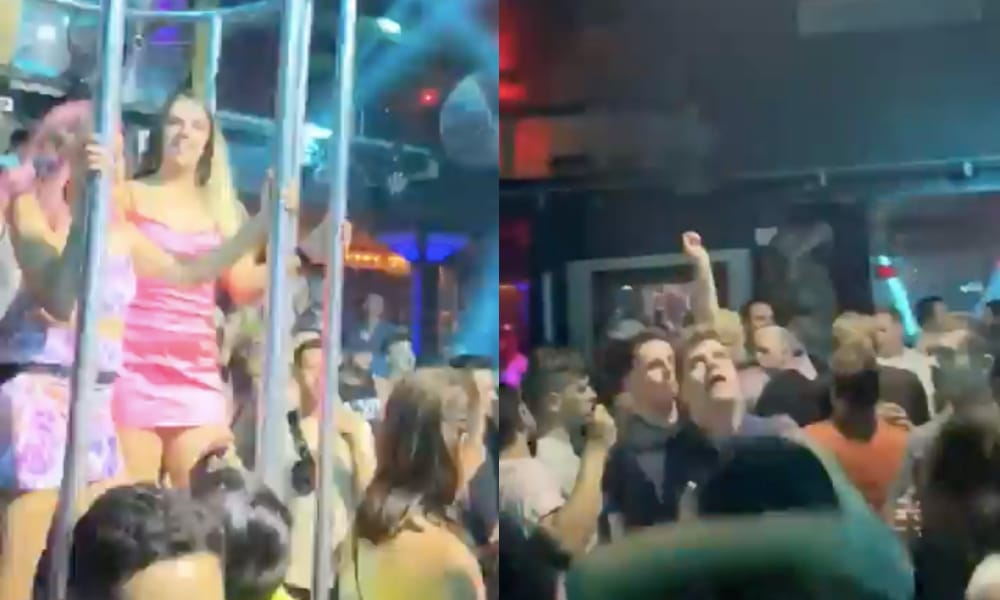 Partygoers at Melbourne queer bar Poof Doof bopping to Lady Gag