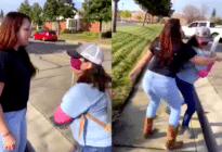 An LGBT+ protestor being attacked outside Destiny Church in Rocklin, California