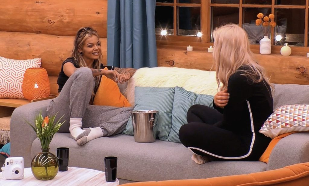 The Cabins: Ep1 on ITV2. Sarah and Charlotte chat about their dating and relationship past.