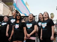Members of the Trans Chorus of Los Angeles perform at a 2018 #MeToo March