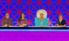 Alan Carr, Michelle Visage, RuPaul and Lorraine Kelly behind the Drag Race UK judges' table