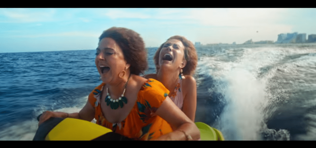 Kristen Wiig and Annie Mumolo being icons in the Barb and Star Go to Vista Del Mar trailer. (YouTube)