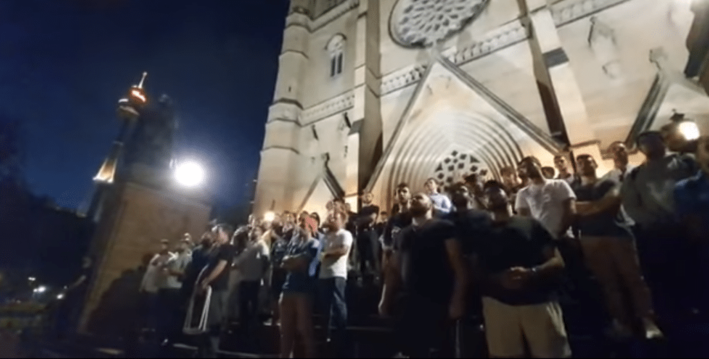 """The outdoor """"Live & Queer"""" variety concert was the scene of an ugly confrontation on the publicly-owned Cathedral Square in Sydney city centre on Saturday"""