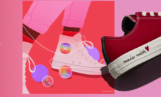 The Converse Valentine's Day collection features rainbow high tops. (@Manonlouart/Converse)