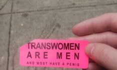 transphobic stickers in Manhattan