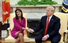 Donald Trump and Nikki Haley, former United States Ambassador to the United Nations