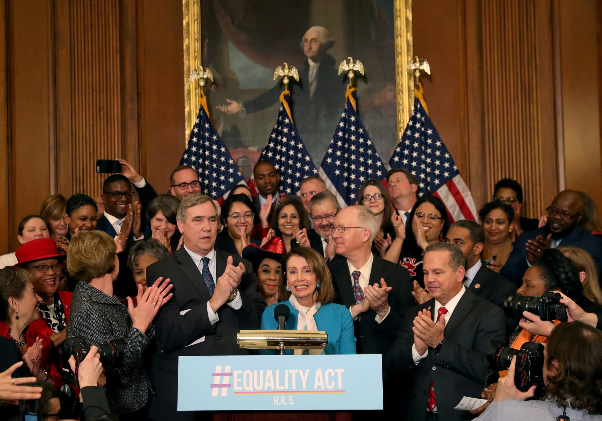House Speaker Nancy Pelosi speaks during a 2019 news conference where House and Senate Democrats introduced the Equality Act