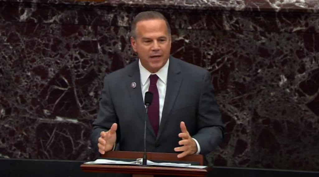 Impeachment manager Rep. David Cicilline speaks on the first day of former President Donald Trump's second impeachment trial
