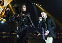 Janet Jackson and Justin Timberlake perform at half-time at Super Bowl XXXVIII at Reliant Stadium