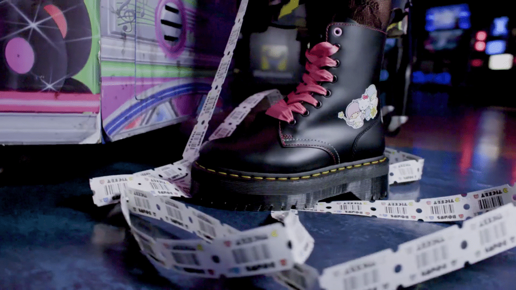 One of the boots from the Dr. Martens x Hello Kitty collection. (Dr. Martens)