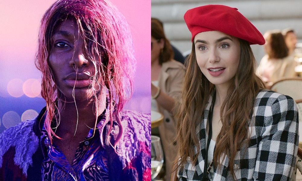 Michaela Coel with wet pink hair in front of a pink sunrise / Lily Collins in a red beret