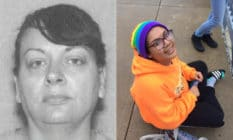 Grey-scale mugshot of Krisinda Bright. Jeffrey Bright, with a rainbow beanie and orange hoodie, sits on the pavement