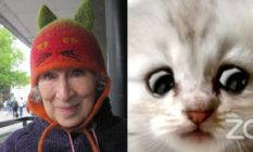Margaret Atwood in a cat hat