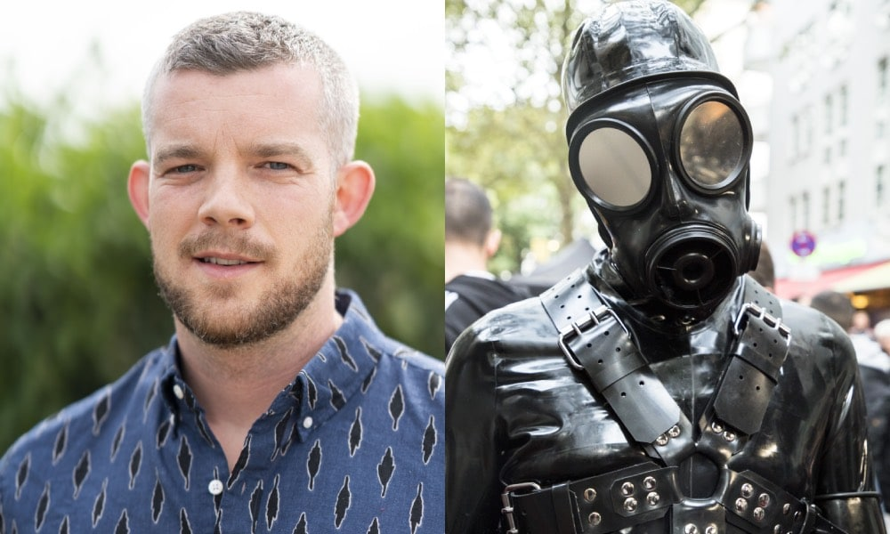 Collage of Russell Tovey and a person in a leather mask