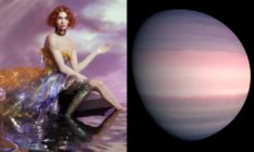 Sophie in front of an oil painting and a planet in similar pink and purple tones