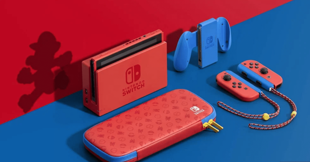 Nintendo Switch Mario edition Red and Blue console