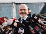 Turkish interior minister Suleyman Soylu speaking before members of the press
