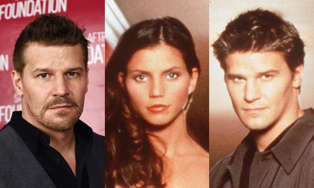 Headshot of David Boreanaz in a black shirt and grey waistcoat. David Boreanaz and Charisma Carpenter in a promotional poster for Angel